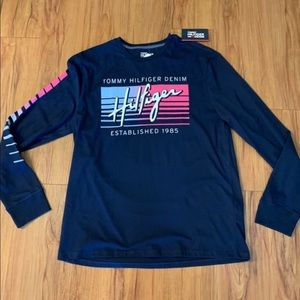 Tommy Hilfiger Denim Navy Logo Long-sleeve Tee